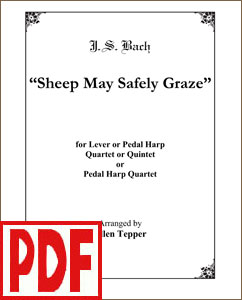Sheep May Safely Graze by Bach for 4 or 5-part harp ensemble by Ellen Tepper PDF Download