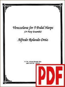 Venezolana for 5 Pedal Harp Ensemble by Alfredo Rolando Ortiz <span class='red'>PDF Download</span>