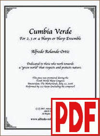 Cumbia Verde for Lever or Pedal Harp Ensemble by Alfredo Rolando Ortiz <span class='red'>PDF Download</span>