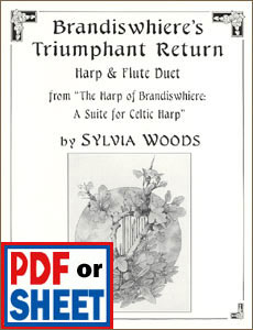 Brandiswhiere's Triumphant Return for flute and harp by Sylvia Woods