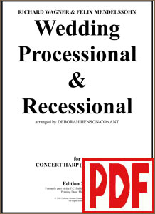 Wedding Processional & Recessional for pedal harp by Deborah Henson-Conant <span class='red'>PDF Download</span>