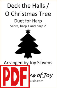 Deck the Halls / O Christmas Tree harp duet by Joy Slavens <span class='red'>PDF Download</span>