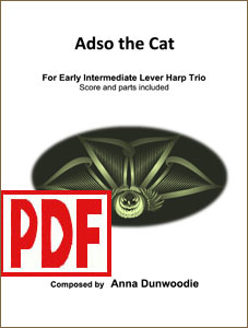 Adso the Cat - for harp trio by Anna Dunwoodie <span class='red'>PDF Download</span>