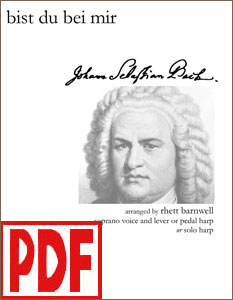 Bist Du Bei Mir by Bach for high voice and harp, or harp solo by Rhett Barnwell  PDF Download