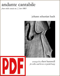 Andante Cantabile by Bach for harp and <strong>cello</strong> by Rhett Barnwell <span class='red'>PDF Download</span>