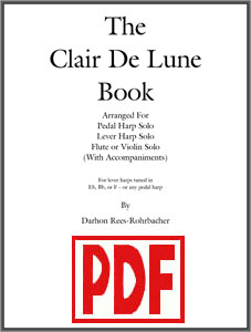 Clair de Lune by Darhon Rees-Rohrbacher for harp solo, and for harp and flute or violin <span class='red'>PDF Download</span>