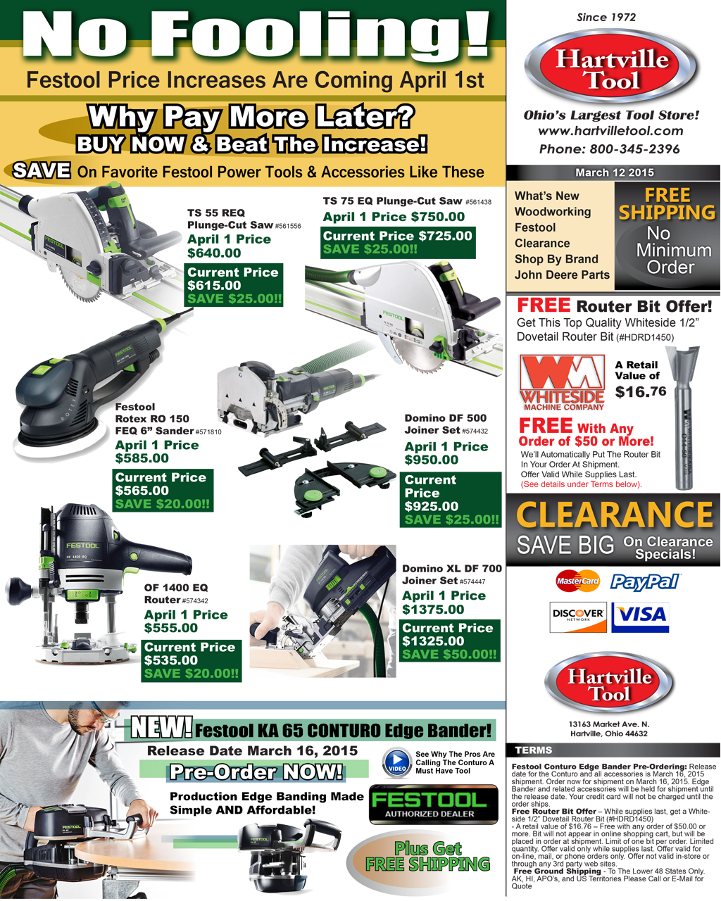 Hartville Tool Enews - March 12, 2015 E-News Specials