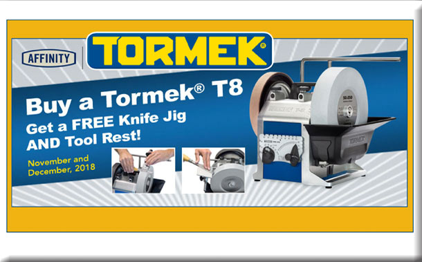 Tormek Holiday T-8 w/FreeKnife Jig & Tool Rest Package Promo