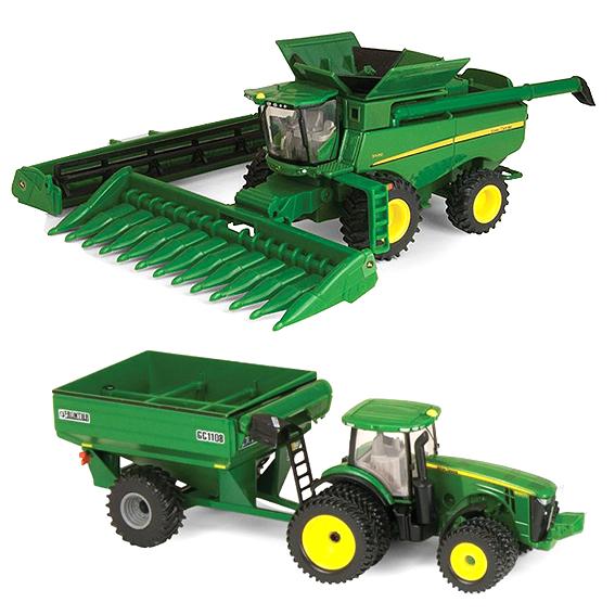 Ertl John Deere 1:64 Scale Harvesting Set