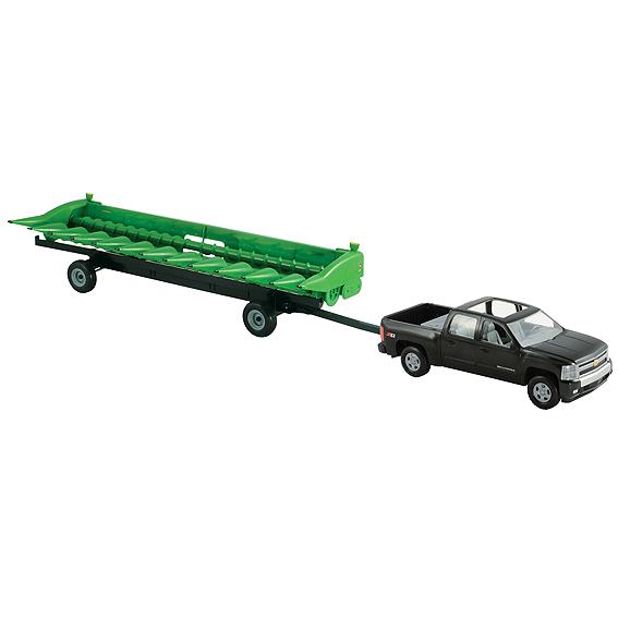Ertl Big Farm 1:16 Scale Chevy Pickup With John Deere 612C Corn Head & Header Cart