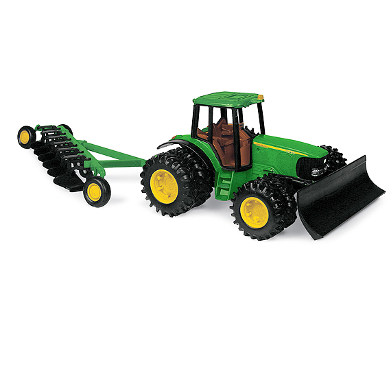 Tomy 8-Inch John Deere 7420 Tractor with Duals, Blade, and 6 Bottom Plow