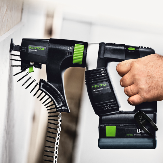 FESTOOL DWC 18-4500 CORDLESS DRYWALL GUN PLUS - IN USE