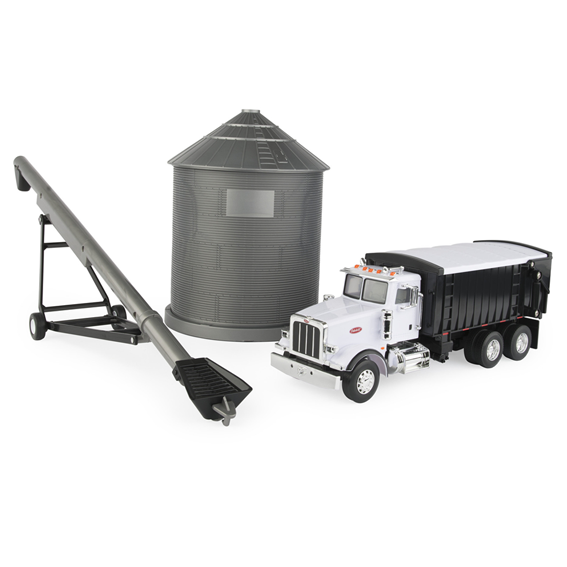 Ertl Big Farm 1:16 Scale Peterbilt Model 367 Straight Truck With Grain Box & Grain Bin