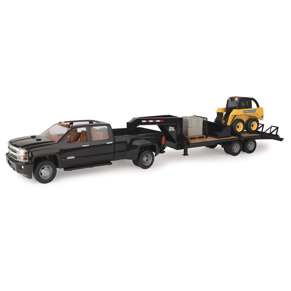 Ertl John Deere Big Farm 1:16 Scale Chevy Truck With Skid Steer & Trailer