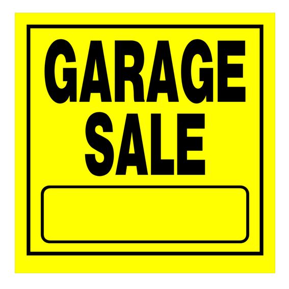 HILLMAN 840169 YELLOW GARAGE SALE SIGN - 11 X 11