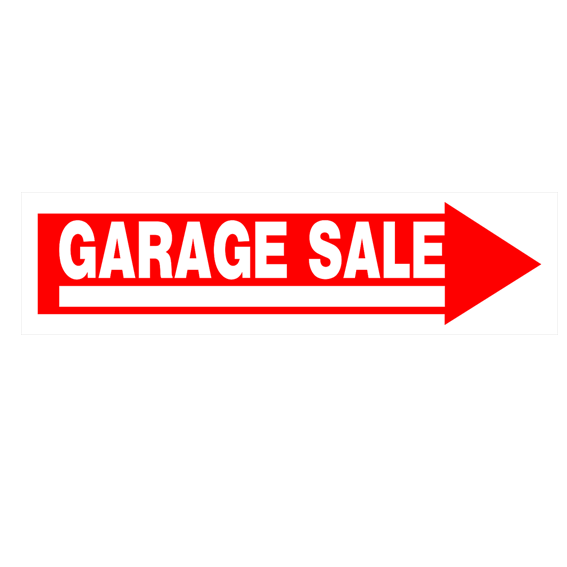 HILLMAN 842228 RED/WHITE CORRUGATED PLASTIC GARAGE SALE SIGN - 6 x 24