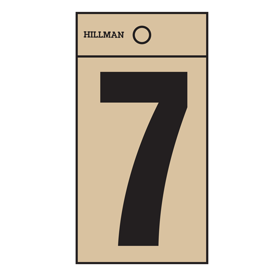 Hillman 839312 2-Inch Black On Gold Square-Cut Mylar Number 7