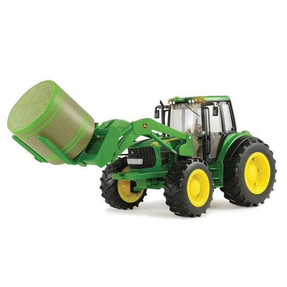 Ertl Big Farm John Deere 1:16 Scale Model 7330 Tractor With Bale Mover & Bale
