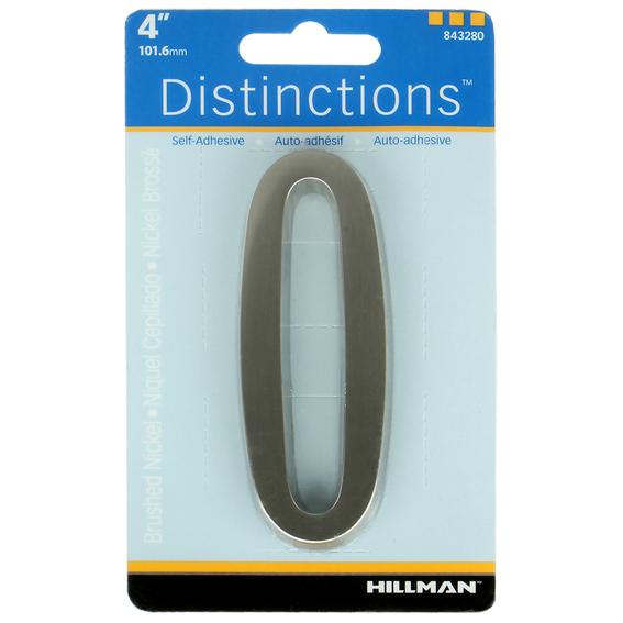 Hillman 843280 4-Inch Brushed Nickel Address Plaque Number 0