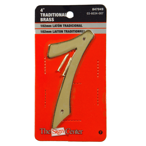 HILLMAN 847049 4 INCH TRADITIONAL SOLID BRASS HOUSE NUMBER 7
