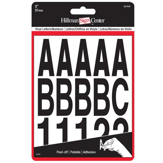 Hillman 847004 2-Inch Individual Die-Cut Black Letters & Numbers Set