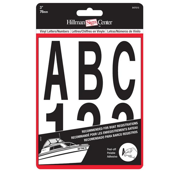 Hillman 847015 3 Individual Die-Cut Black Letters & Numbers Kit