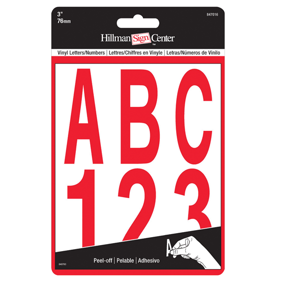 HILLMAN 847016 3 INDIVIDUAL DIE-CUT RED LETTERS & NUMBERS SET