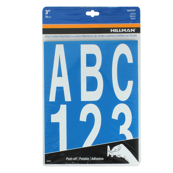 Hillman 847017 3 Individual Die-Cut White Letters & Numbers Set