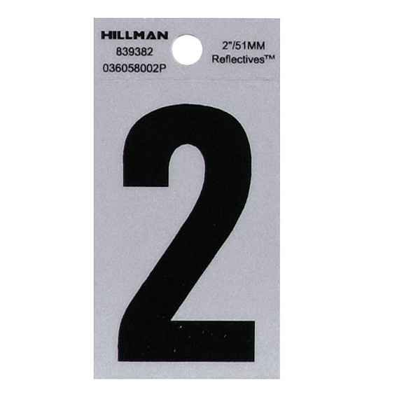 Hillman 839382 2-Inch Black On Silver Reflective Square-Cut Mylar Number 2