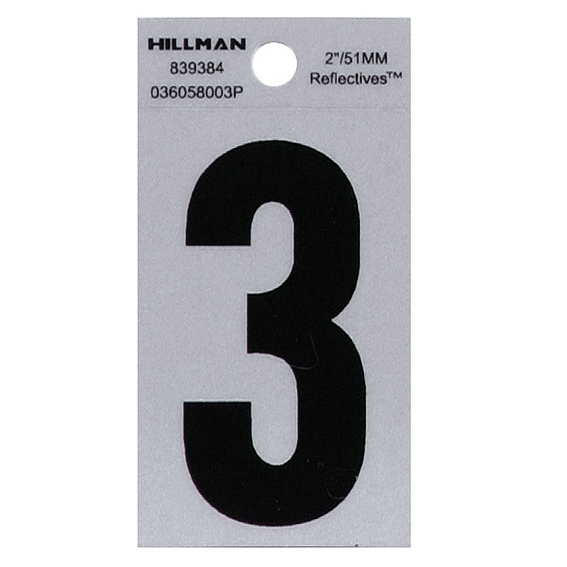 HILLMAN 839384 2 BLACK ON SILVER REFLECTIVE SQUARE-CUT MYLAR NUMBER 3