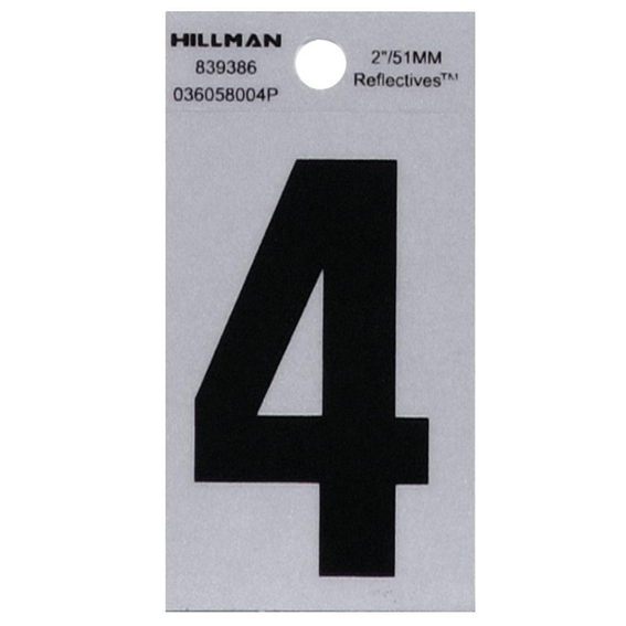 Hillman 839386 2 Black On Silver Reflective Square-Cut Mylar Number 4