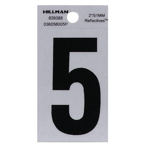 Hillman 839388 2 Black On Silver Reflective Square-Cut Mylar Number 5