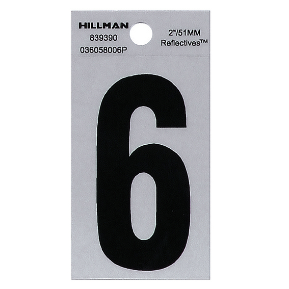 HILLMAN 839390 2 BLACK ON SILVER REFLECTIVE SQUARE-CUT MYLAR NUMBER 6