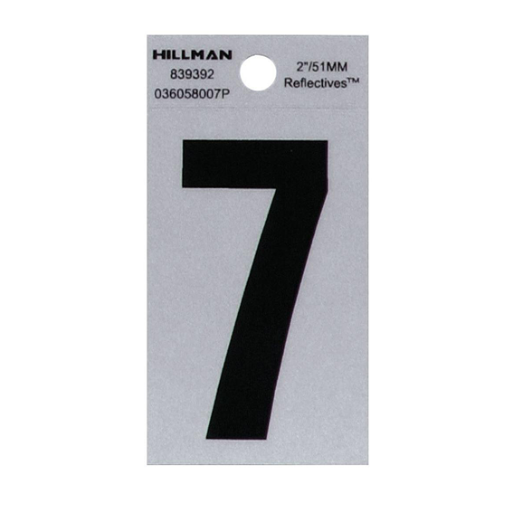 HILLMAN 839392 2 BLACK ON SILVER REFLECTIVE SQUARE-CUT MYLAR NUMBER 7