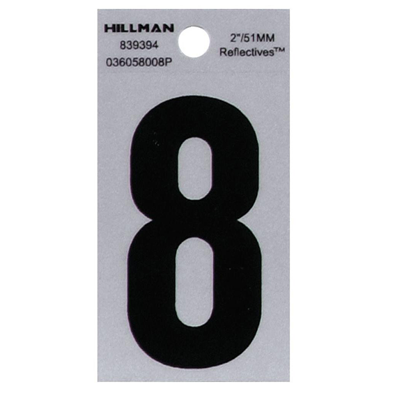Hillman 839394 2 Black On Silver Reflective Square-Cut Mylar Number 8