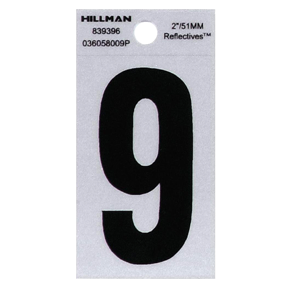 HILLMAN 839396 2 INCH BLACK ON SILVER REFLECTIVE SQUARE-CUT MYLAR NUMBER 9