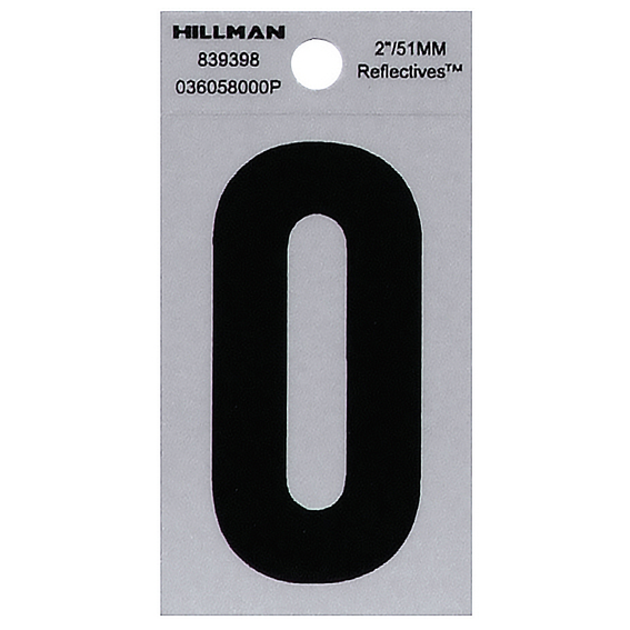 Hillman 839398 2 Black On Silver Reflective Square-Cut Mylar Number 0