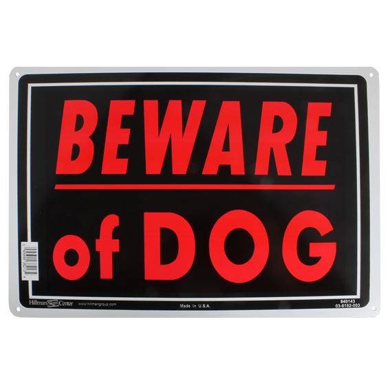 """Hillman 848546 10/""""/"""" x 14/""""/"""" Black /& Red Dog on Premises Sign"""