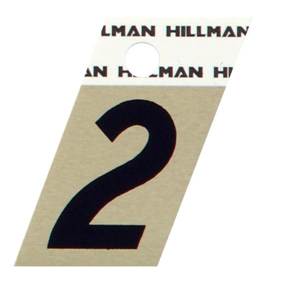 Hillman 840478 1-1/2 Black On Gold Angle-Cut Aluminum Number 2