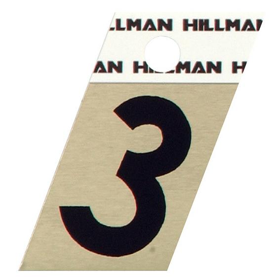 Hillman 840480 1-1/2 Black On Gold Angle-Cut Aluminum Number 3