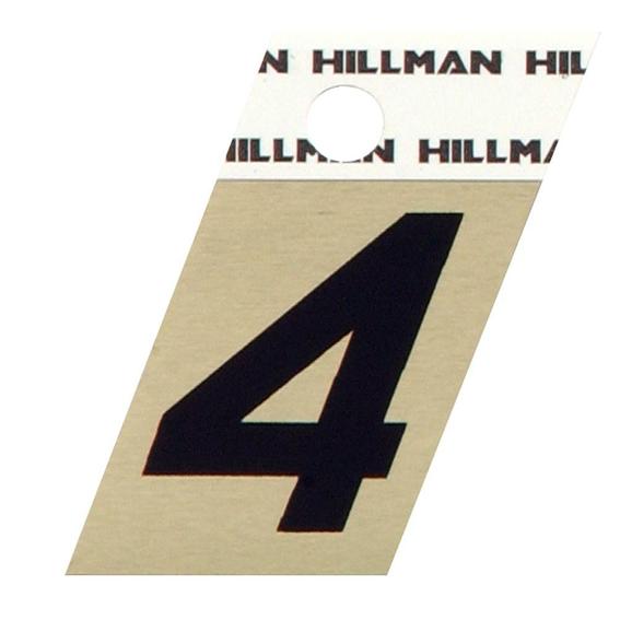 Hillman 840482 1-1/2 Black On Gold Angle-Cut Aluminum Number 4