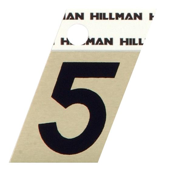 Hillman 840484 1-1/2 Black On Gold Angle-Cut Aluminum Number 5