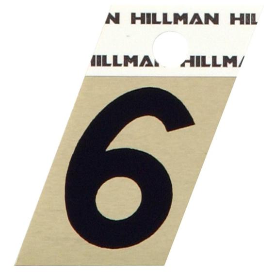 Hillman 840486 1-1/2 Black On Gold Angle-Cut Aluminum Number 6