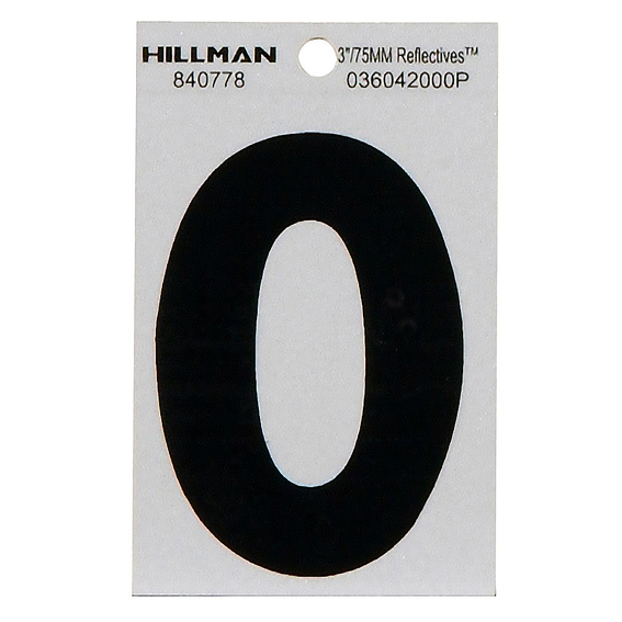 HILLMAN 840778 3 BLACK ON SILVER REFLECTIVE SQUARE-CUT MYLAR NUMBER 0