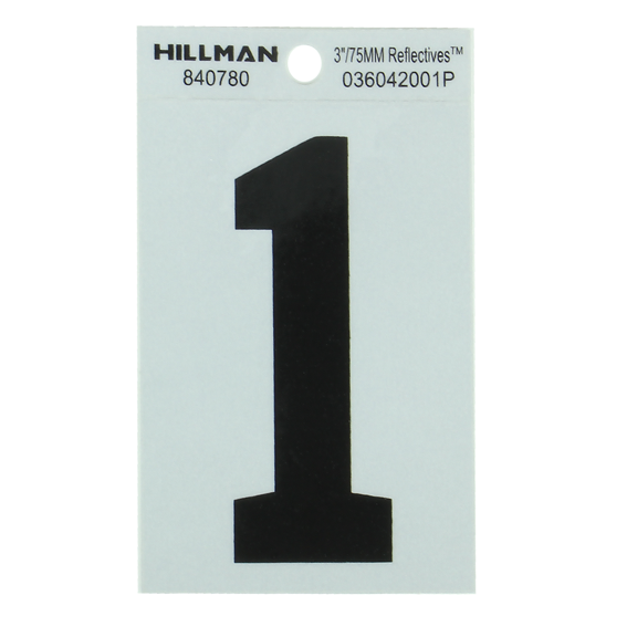 HILLMAN 840780 3 BLACK ON SILVER REFLECTIVE SQUARE-CUT MYLAR NUMBER 1