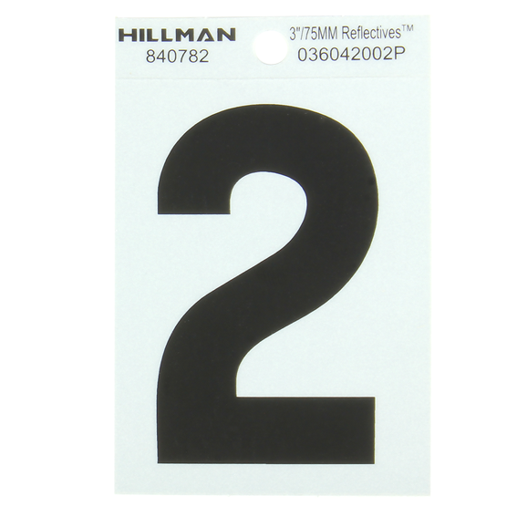 Hillman 840782 3 Black On Silver Reflective Square-Cut Mylar Number 2