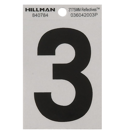 Hillman 840784 3 Black On Silver Reflective Square-Cut Mylar Number 3