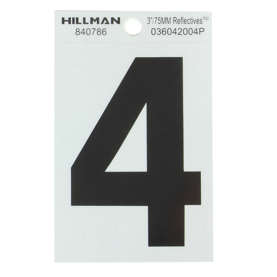 Hillman 840786 3 Black On Silver Reflective Square-Cut Mylar Number 4
