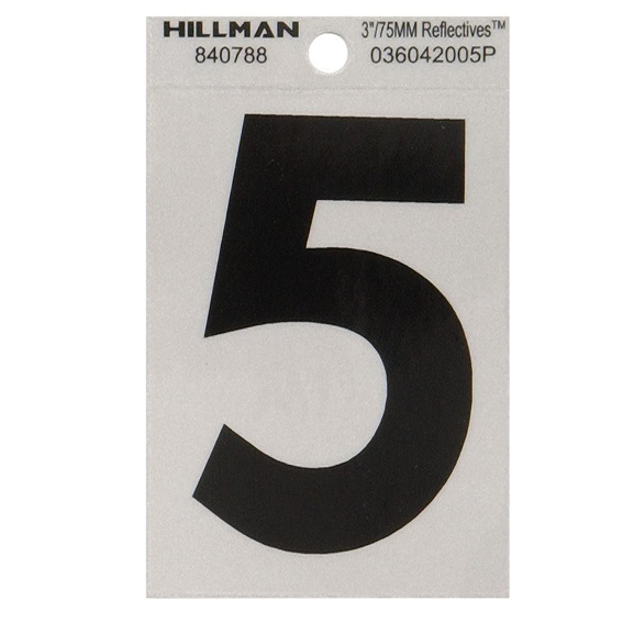 Hillman 840788 3 Black On Silver Reflective Square-Cut Mylar Number 5