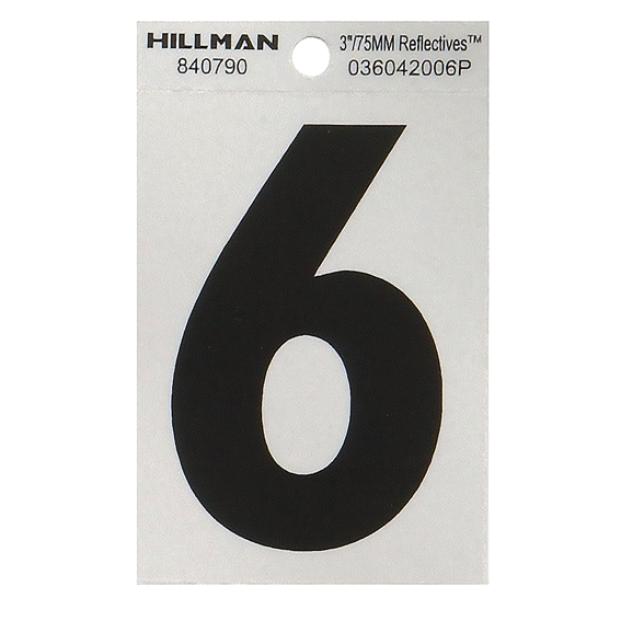 Hillman 840790 3 Black On Silver Reflective Square-Cut Mylar Number 6